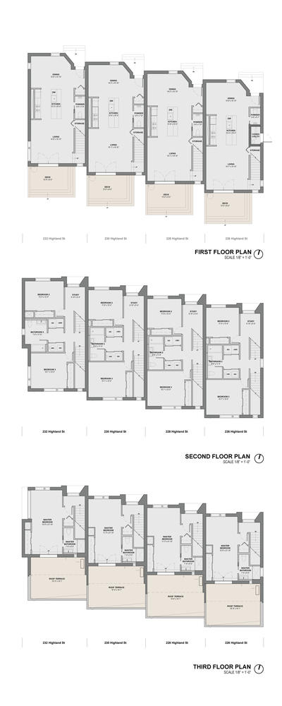 E 226 232 highland street townhouses aia top ten for Stacked townhouse floor plans
