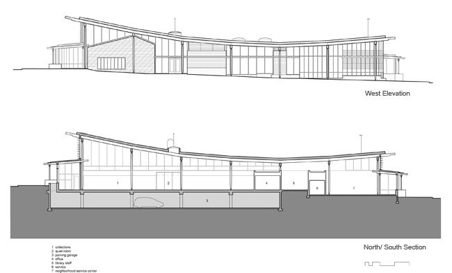 Elevation And Plan Difference : Ballard library and neighborhood center aia top ten