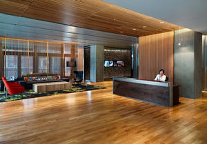 reception area is used for multiple functions with moveable furniture